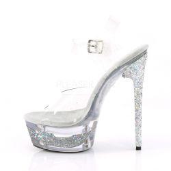 Sandalias de plataforma tintada y glitter brillo holográfico en el talón