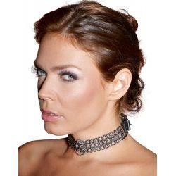 Collar de Bondage ajustable con 3 cadenas de metal y correa de cuero