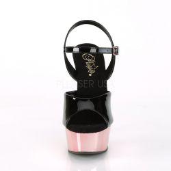 Sandalias charol DELIGHT-609 Pole Dance plataforma metalizada brillante