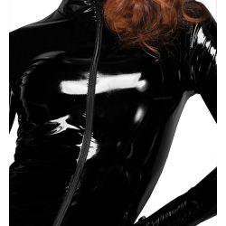 Vestido Fetish Dominatrix de PVC brillante con cremallera al frente