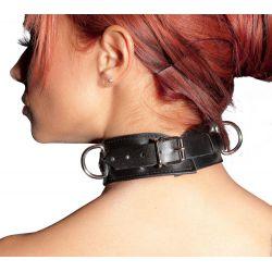 Collar de cuero ZADO para bondage con dos argollas y tachuelas