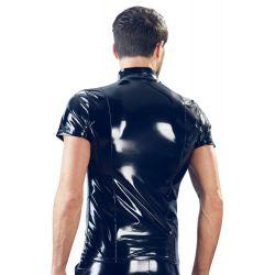 Camisa de cuello alto masculina en vinilo con cremallera al frente