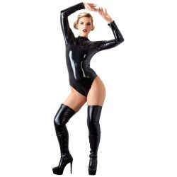 Body de látex ajustado de mangas largas con cremallera reversible