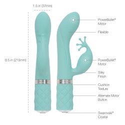 """Vibrador azul """"Pillow Talk""""con 4 puntas en forma de corona para el clítoris"""
