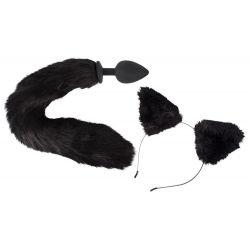 Set plug anal y orejas. Plug de silicona 9,3 cm en forma de cola de gato