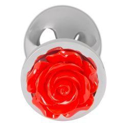 "Plug anal de aluminio ""Butt Plug Rose"" con detalle de rosa en la base"