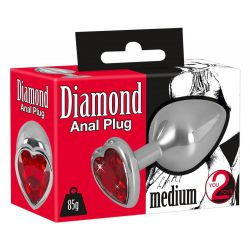 "Plug anal medium de aluminio ""You2toys"" con peso 85 g y base de cristal"