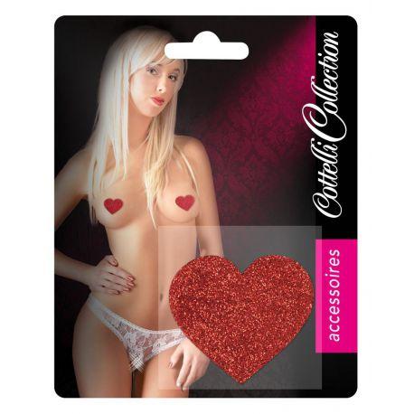 Cubre pezones en forma de corazón de purpurina roja