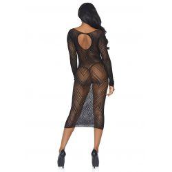 Vestido manga larga de rejilla con espiga y abertura en la espalda
