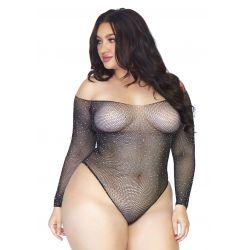 Body para chicas con curvas de rejilla fina con adornos brillantes