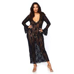 Vestido largo transparente con encaje y mangas largas. Talla XL-2XL