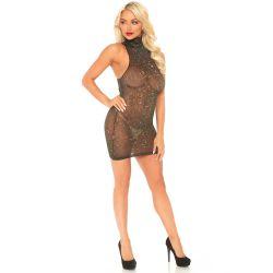 Mini vestido elástico con cuello alto sin mangas, en tejido lurex brillante