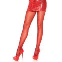 Panty opaco Leg Avenue de lurex con particulas brillantes rojas
