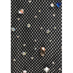 Pantys semitransparente en rejilla fina con strass multicolor. Talla única