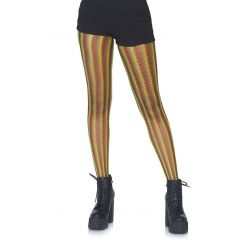 """Pantys de red multicolor con rayas verticales estilo rasta """"Leg avenue"""""""
