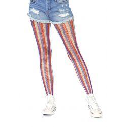 Pantys de red multicolor con rayas azules,blancas y rojas. Talla única.