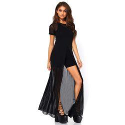 Vestido largo de lenceria elaborado de fina gasa transparente con abertura