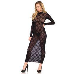 Vestido largo semitransparente con mangas largas y bordados de lazo