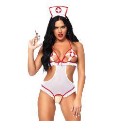 Uniforme 2 piezas de enfermera atrevida. Body sin copas y diadema a juego