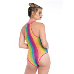 "Body con cuello halter ""Leg avenue"" rayas multicolor en vertical"