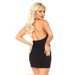 """Mini-vestido ajustado """"Leg avenue"""" con escote profundo en V y cuello halter"""