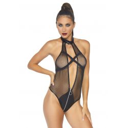 Body wetlook de red con cuello halter y cremallera en la entrepierna