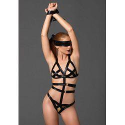 Conjunto bondage 3 piezas. Body elástico de tejido brillante con bandas