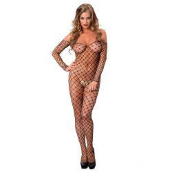 Body de cuerpo entero elaborado de red ancha con mangas largas