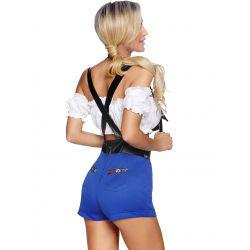 Disfraz sexy de camarera alemana. Compuesto por top y short de tirantes