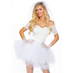 "Disfraz blanco de novia sexy 4 pzs. ""Vestido de encaje, tul, velo y liga"""