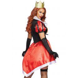 Disfraz de reina del país de las maravillas. Vestido asimétrico y corona