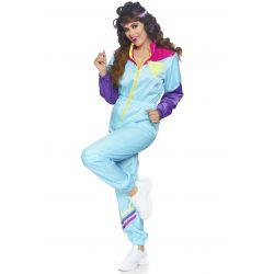 Disfraz jogging de los años 80. Mono entero con cremallera y cinta de pelo
