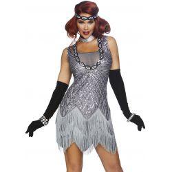 Disfraz sexy para carnaval de Roaring Roxy años 20 de lentejuelas.