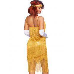Disfraz sexy para carnaval de charleston Daisy. Vestido con flecos dorados
