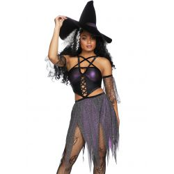 Disfraz sexy de lanzadora de hechizos para halloween. 3 piezas