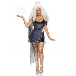 Disfraz de Diosa de la Luna 2 piezas. Vestido con brillantina y diadema