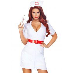 Disfraz de sexy enfermera 2 pzs. Vestido corto con cinturón y tocado