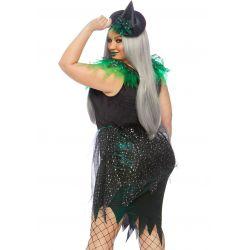¡En tallas Grandes! Disfraz de bruja malvada para Halloween 2 piezas.