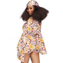 Disfraz de Hippie con estampados floral de los años 70. Tallas S hasta L.