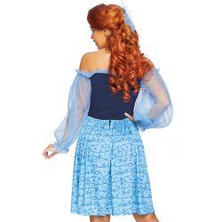 Disfraz de sirena campesina 2 piezas. Vestido con lazo para el pelo