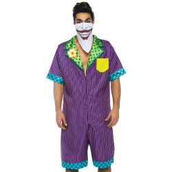Disfraz para carnaval del Joker 2 pzs. Mono con estampado y pañoleta-máscara