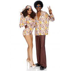 """Camisa de flores para disfraz de los años 70 de la marca """"Leg avenue"""""""