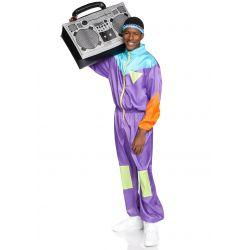 Disfraz jogging de los años 80 para hombre. Mono brillante con cinta de pelo