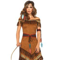 Disfraz 4 piezas de Princesa Nativa. (Vestido con flecos y complementos)