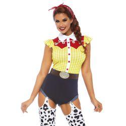 """Talla S hasta XL. Disfraz de carnaval cowboy sexy """"Leg Avenue"""" 3 piezas."""