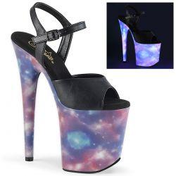 Sandalias con plataforma extra alta Galaxy reflectante y banda de polipiel