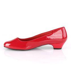 Zapatos rojos de tacón bajo 3 cm GWEN-01 fabricados en charol T-40 a 48