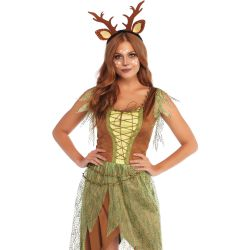 Disfraz femenino de ciervo del bosque 2 piezas. Vestido y diadema a juego