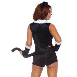 Disfraz de gatita juguetona 3 pzs. (Body de terciopelo,mitones y diadema)