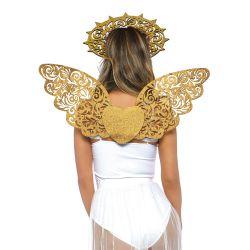 Set de 2 piezas (Alas y Aureola) de Angel Dorado para disfraz